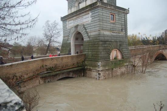 Piena del tevere a ponte Milvio 12.12.2008 - Roma (2822 clic)