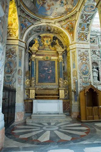 caltanissetta, altare in marmi mischi nella chiesa dei gesuiti, particolare (3444 clic)