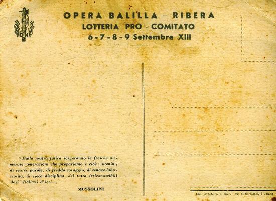 Trattasi del retro della cartolica Mussolini - Ribera (3003 clic)