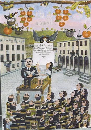 Il Naif Francesco Galeotti eleva Dino Campana a Grande Maestro in Piazza Scalelle tra il Mediceo Palazzo Fabbroni e Municipio 15 9 12 in Mostra al Centro Studi - Marradi (1904 clic)