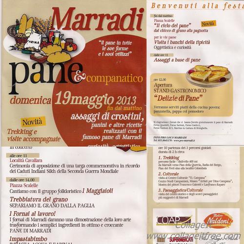 Lo SCIOCCO PANE di Marradi fa Festa addì 19 Maggio 2013 e dai tempi Medicei sulla strada del Sale Cervia-Firenze si rinnova l'inno gaudente al prezioso Grano che la STORIA sazia, assieme alle..</title - MARRADI - inserita il 13-May-13