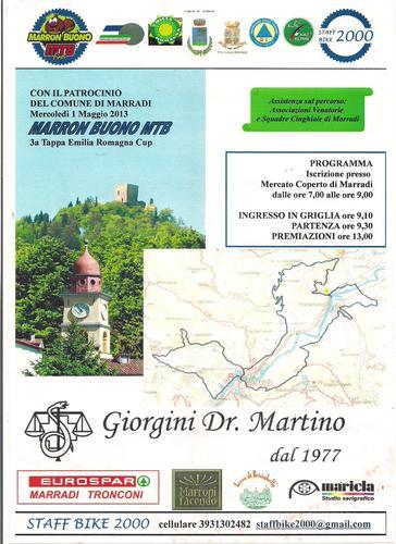 Mountain Bike a Marradi 1 maggio 2013 L'EMILIA ROMAGNA CUP LAVORA ANCHE IL 1 MAGGIO recensione dal web….Si è tenuta il 1 maggio 2013, a Marradi in provincia di Firenze, la terza tappa del circuito..</ (1348 clic)