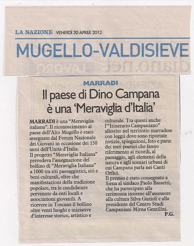 Marradi Paese di Dino Campana è una Meraviglia d'Italia:Recensione da LA NAZIONE  scrive Paolo Guidotti dalle Terre del Marrone Buono e della Grande Poesia del 900 (1686 clic)