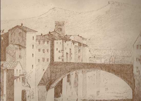 Il ponte di Dino Campana Marradi disegno interpretativo  (3400 clic)