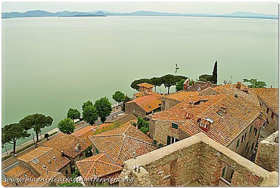 Il Trasimeno dall'alto della Torre della Rocca. - Passignano sul trasimeno (1410 clic)