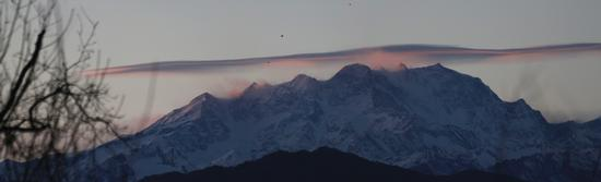 Tarmonto sul Monte Rosa visto dal parco naturale dei Lagoni di Mercurago, Piemonte gennaio 2012 (1386 clic)