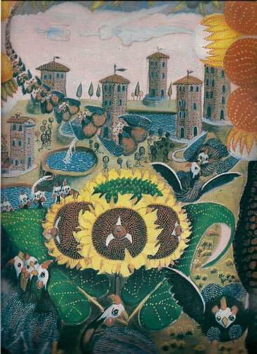 Romagna Toscana  Pittore Naif Francesco Galeotti CANTO AL GIRASOLE - Marradi (3407 clic)