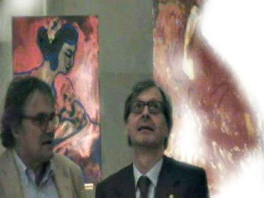 Sgarbie e  Toscani visitano la mostra di Mauro Di Girolamo El Pintor  - Palermo (2324 clic)