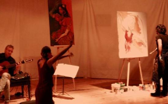 Sonikete  sefardi  trio  y flamenco con pittura di Mauro El Pintor  - PALERMO - inserita il 09-Jun-10