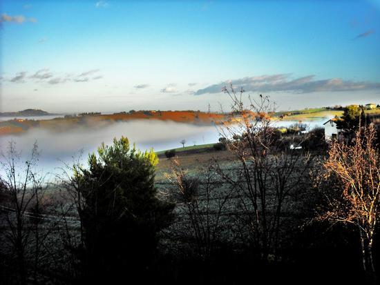 Cerasa-San Costanzo: nebbie del mattino (1942 clic)