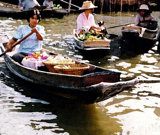 Bankok, mercato gallegiante acquerello (458 clic)