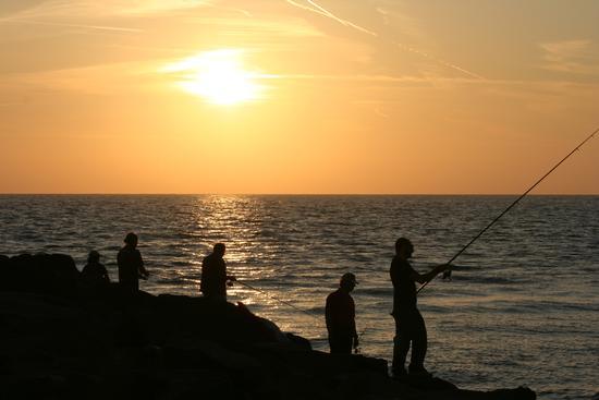 Pesca serale al molo di Fiumicino (2348 clic)