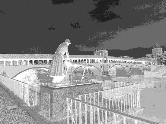Il ponte coperto in negativo - Pavia (717 clic)