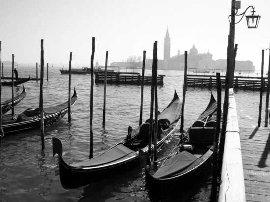 gondole in attesa a canal garnde vista su L'isola di s. Giorgio - Venezia (3087 clic)