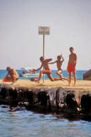Tuffi dal moletto - da notare il cartello di divieto di balneazione  - Marina di modica (6755 clic)