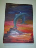 delfini , quadro dipinto ad olio, a mano, Daniela,  ottobre 2005  - Ragusa (3219 clic)