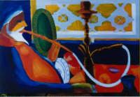 giuseppe sirni - fumatore di narghilè - olio su tela - cm 100X70 - Mentone - Francia - collezione privata  - Mistretta (3221 clic)
