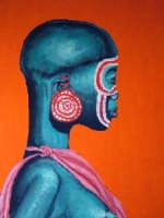 Giuseppe Sirni, Donna Africana, acrilico su tela, cm 35X50  - Mistretta (3172 clic)