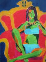 Giuseppe Sirni - ragazza su poltrona rossa 2 - olio su tela - cm 50X70 - Mistretta  - Mistretta (2067 clic)