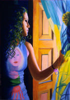 Giuseppe Sirni - ragazza alla finestra - olio su tela - cm 70X100 - 2008  - Mistretta (3490 clic)