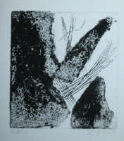 Giuseppe Sirni - rocce - secondo stato - tecnica di incisione sperimentale. punta secca e carta vetrata su cartone trattato  - Mistretta (5287 clic)
