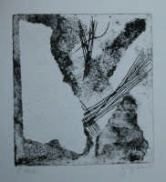 Giuseppe Sirni - rocce - terzo stato - tecnica d'incisione sperimentale, punta secca e carta vetrata su cartoncino trattato.  - Mistretta (7813 clic)