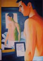 uomo allo specchio - olio su tela - cm70X100  - Mistretta (3367 clic)