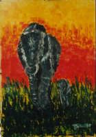 Giuseppe Sirni - Elefanti - acrilico su cartoncino - cm 70X100 - Mistretta, collezione privata  - Mistretta (3208 clic)