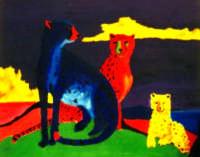Giuseppe Sirni - Ghepardi - acrilico su tela - cm 80X100 - Nicosia (EN), collezione privata  - Mistretta (3624 clic)