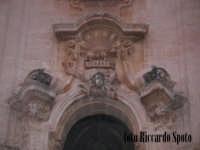 Modica Alta. L'imponente e svettante facciata, della barocca chiesa di San Giorgio. Particolare di u