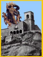 Manifesto della festa dell'Ascensione maggio 2003 Chiesa SS. Salvatore di Nicosia (1204) La Nuvola di Gesù Salvatore del Mondo è opera di Francesco Quattrocchi da Gangi <1852. L'autore della foto e composizione è componente della Commissione per i festeggiamenti del SS. Salvatore di Nicosia  - Nicosia (5999 clic)