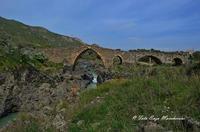 Ponte Saraceno Di origine romana, questo ponte, i cui archi a sesto acuto sono ornati da una fascia di pietra bicroma, è stato ricostruito sotto Ruggero II. Costeggiando il fiume (il Simeto) verso Nord, potrete scoprire le gole del Simeto, formate, come quelle dell'Alcàntara, da una colata di lava i cui enormi massi di basalto sono stati levigati dall'acqua.  - Bronte (1536 clic)