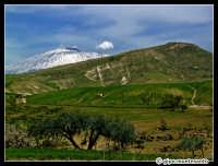 Etna innevato. Paesaggio delle campagne nei pressi di Catenanuova, Marzo 2005.  - Etna (2140 clic)