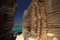 il vento ha lasciato sulla pietra i segni del suo passaggio  mentre si scorge sullo sfondo i colori che caratterizzano il mare di favignana  - Egadi (3919 clic)