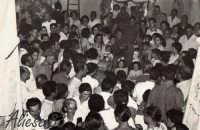 Festa Ranni 1958 le bimbe interpreti di S.Agata e S.Caterina insieme ai ciliari all'interno di Palazzo Fama sede del Cilio delle Ragazze  - Alì (3587 clic)