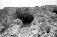 La necropoli risale alla media età del bronzo (XV ÷ XIII sec. a.C.). Comprende ca. 450 tombe a grotticella artificiale, dotate di vestibolo costituito, nella maggior parte dei casi, di un semplice pozzetto, o dotato di un dromos o corridoio (come nella foto). Le camere sepolcrali sono a pianta circolare con soffitto a volta e, in alcuni casi, nicchie alle pareti. La sepoltura avveniva per inumazione.  - Thapsos (5121 clic)