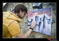Leonforte (ENNA): Sagra della pesca a Leonforte. Giovane pittore. Foto Walter Lo Cascio www.walterlocascio.it   - Leonforte (4551 clic)