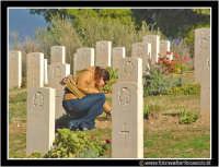 Agira. Cimitero Canadese. Ragazza che raccoglie i fiori di prato.  - Agira (6772 clic)
