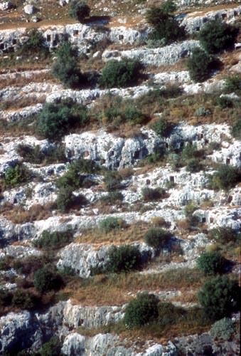 veduta aerea delle tombe sul versante sud-est - PANTALICA - inserita il