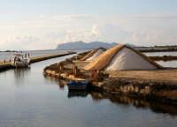 Scorcio delle saline di Marsala. Sullo sfondo l'isola di Favignana.  - Marsala (2142 clic)