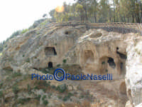 Area archeologica di Contrada Canalotto,vista del costone roccioso e del bosco soprastante da est.   - Calascibetta (2095 clic)
