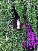 Madonna di Lourdes Questa statua della Madonna si trova di fronte il parcheggio dei pullman salendo verso Taormina (strada panoramica) l'altra statuina è coperta dal rampicante.  - Taormina (2405 clic)