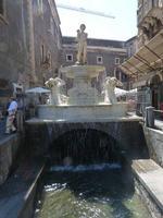 La Fontana dell'Amenano Piazza Duomo  La Fontana dell'Amenano detta anche fontana dell'acqua a lenzuolo - opera dello scultore TITO ANGELINI nato a Napoli nel 1806 e morto nel 1878 -   La fontana è stata realizzata  nel 1867  - Catania (4164 clic)