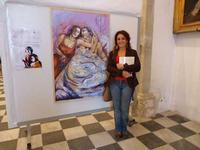 Tiziana Viola Massa e il suo quadro Immagini della mostra Arte, Fede e Speranza esposta a San Giorgi