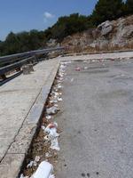 La sporcizia del Belvedere Le cartacce e la sporcizia in cui versa il piazzale sottostante il ceppo