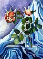 Alba Lo Verso Due rose Olio su tela del 1983 cm 70 x 50  PALERMO Maria Pia Lo Verso