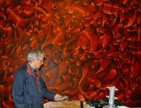 il blu e il rosso Durante una fase del montaggio dello schermo di proiezioni della sala conferenze del Parco dell'Arte  - San giovanni la punta (3573 clic)