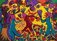 Ballando sotto i fiori  Opera dell'artista Lorenza Parrotta esposta alla galleria studio 71 di Paler