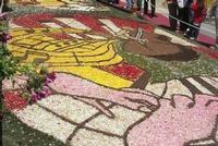 Infiorata 2010 - Bozzetti ispirati al tema: Musica dipinta: le forme e i colori della musica - DUETTO CLASSICO - particolare - Via Nicolaci - 16 maggio 2010   - Noto (2968 clic)
