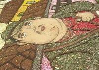 Infiorata 2010 - Bozzetti ispirati al tema: Musica dipinta: le forme e i colori della musica - UOMO CHE SUONA IL TAMBURO - particolare - Via Nicolaci - 16 maggio 2010    - Noto (2686 clic)